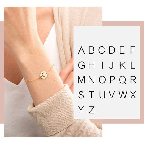Korean fashion rose gold stainless steel simple titanium steel lettering bracelet NHTF249337's discount tags