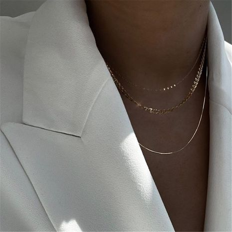 fashion hiphop style simple hollow multi-level retro wide clavicle chain necklace for women NHYQ249470's discount tags