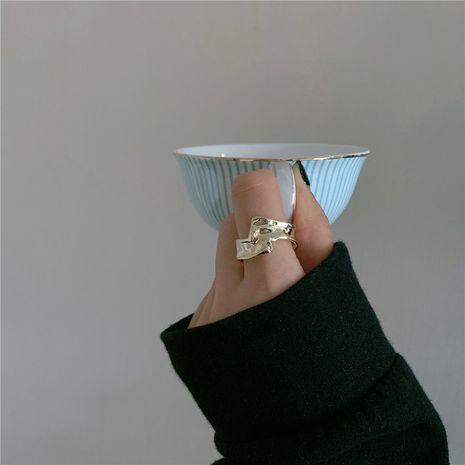 Corea del metal golpe textura anillo de la hoja de estaño anillo de moda irregular al por mayor NHYQ249477's discount tags