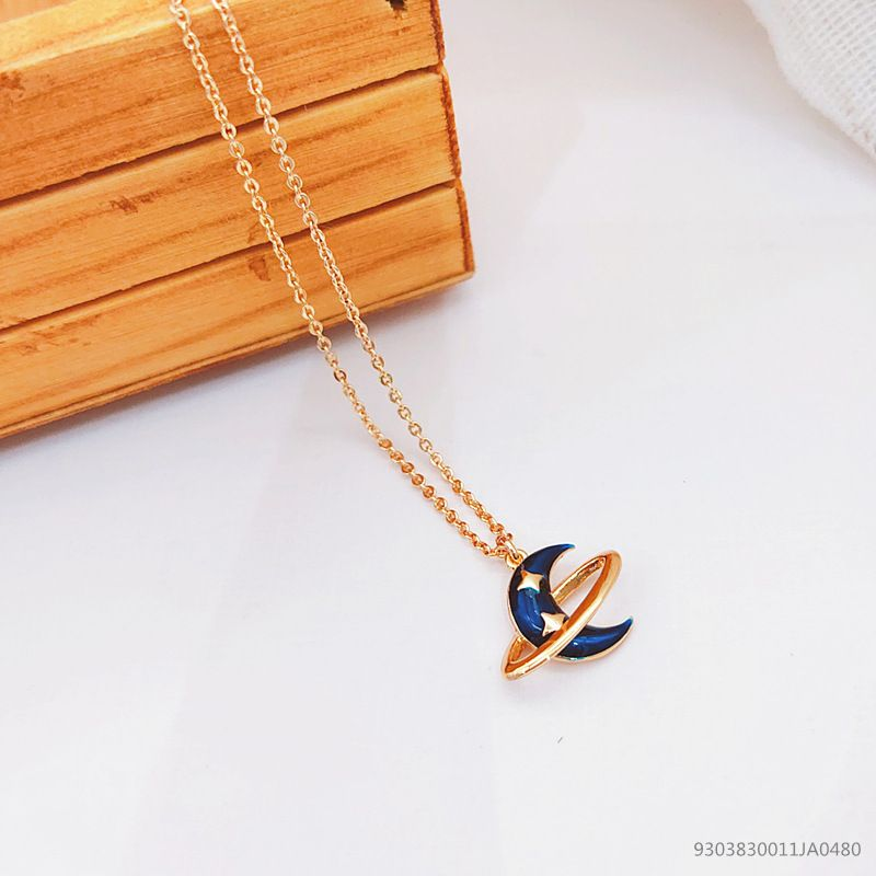 New star moon planet pendant short o-chain women's alloy clavicle chain necklace wholesale  NHLJ249487
