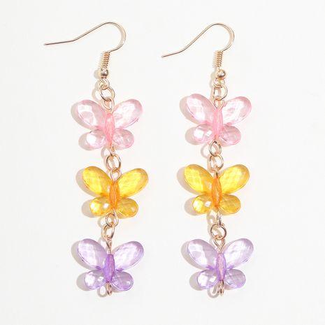 Été simple et doux cristal artificiel rose jaune violet trois boucles d'oreilles pompon pompon NHPV249494's discount tags