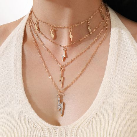 Fashion exaggerated multi-layered diamond Lightning Chocker pendant tassel alloy necklace NHPV249498's discount tags