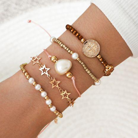 estampado en relieve retrato trébol de cuatro hojas estrella de cinco puntas perla pulsera de aleación tejida geométrica juego de 5 piezas NHPV249502's discount tags
