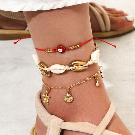 three-layer starfish natural shell hand-woven tassel alloy anklet 3-piece set NHPV249508's discount tags