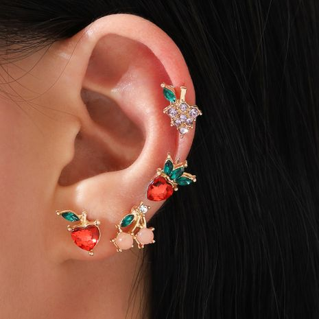 simple  sweet fruit apple strawberry cherry grape alloy earrings 4-piece set NHPV249509's discount tags