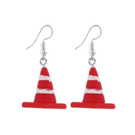 Pendientes de resina simples con gancho de oreja con cuentas de plata con barricada blanca roja para hombres y mujeres NHPV249519's discount tags
