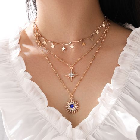 Fashion multi-layered  five-pointed star diamond eight-pointed star sun flower  tassel alloy necklace NHPV249522's discount tags