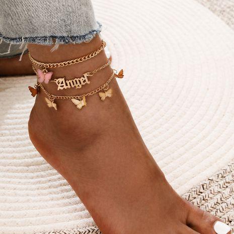 Simple dulce acrílico mariposa ángel ángel colgante flor mariposa borla aleación tobillera conjunto de 3 piezas NHPV249523's discount tags