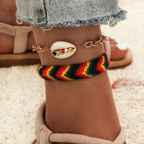Bohemian  hand-woven colorful rope natural shell beaded tassel anklet 2-piece set NHPV249525's discount tags