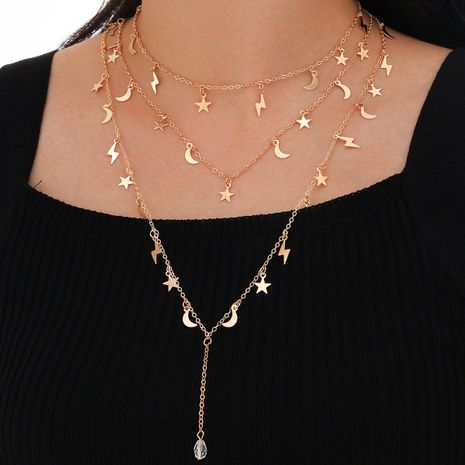 new multi-layered five-pointed star moon Lightning pendant long tassel alloy necklace  NHPV249526's discount tags