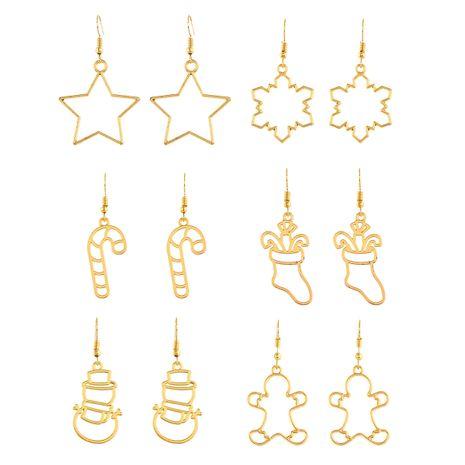 Nouvelle série de Noël creux or étoile flocon de neige bonhomme de neige bas de Noël boucles d'oreilles pendentif 6 paires NHPV249529's discount tags