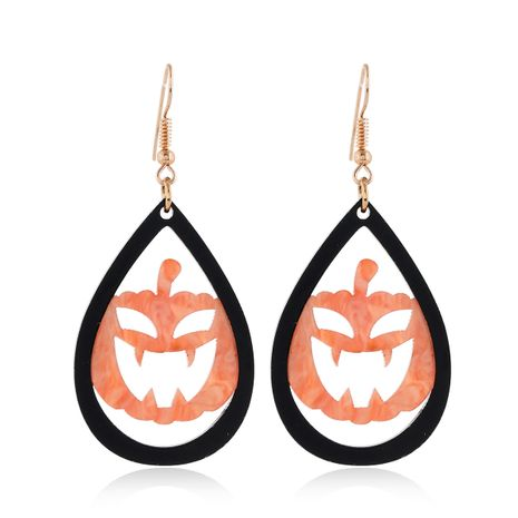 new Halloween fun acrylic water drop pumpkin combination earrings for women NHPV249530's discount tags