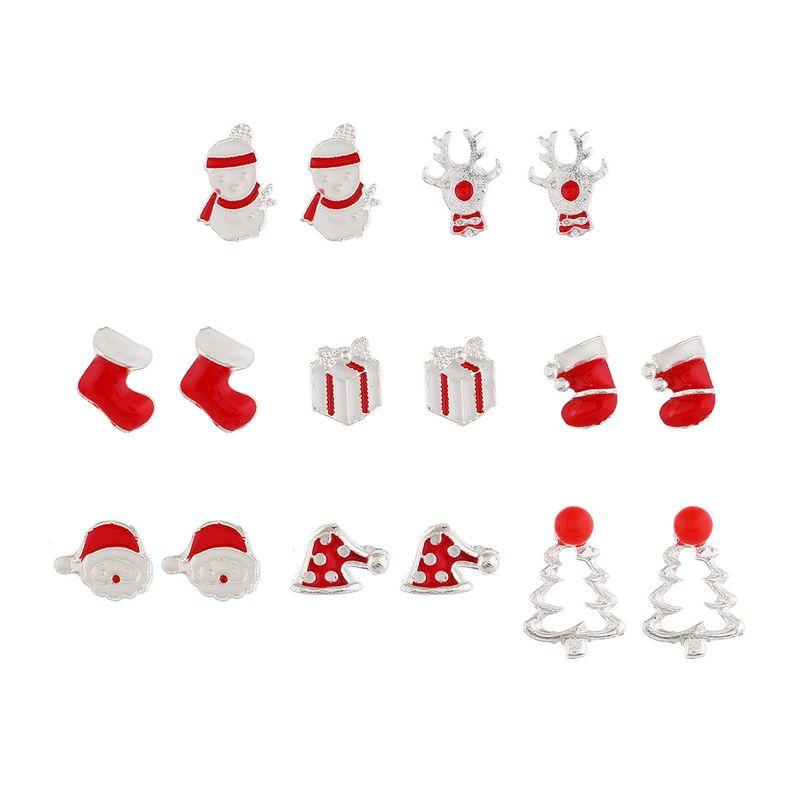 Christmas Series Elk Socks Snowman Christmas Tree Gifts Geometric Earrings 8 Pairs NHPV249534