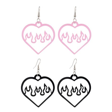 simple two-tone acrylic black pink hollow love-shaped spark flame earrings 2 pairs NHPV249537's discount tags