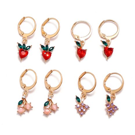 simple sweet fruit apple strawberry cherry grape key ring buckle diamond earrings 4 pairs NHPV249539's discount tags