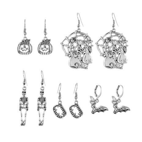 new Halloween fun series bat witch skull fangs geometric earrings 5-piece set NHPV249552's discount tags