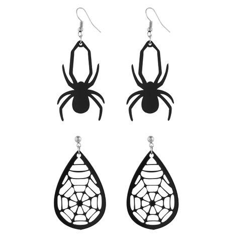 Nuevos pendientes de tela de araña de acrílico negro exagerado de Halloween para hombres y mujeres NHPV249542's discount tags