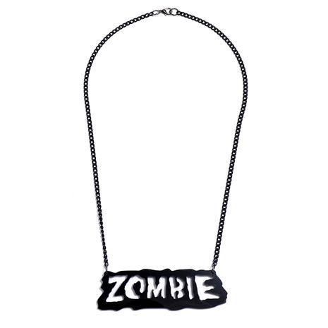 fashion Halloween gifts single layer black chain Zombie letter alloy necklace NHPV249546's discount tags