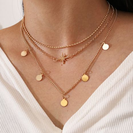 fashion multi-layer 3 layered star eight-pointed star disc tassel thin chain alloy necklace for women NHPV249557's discount tags