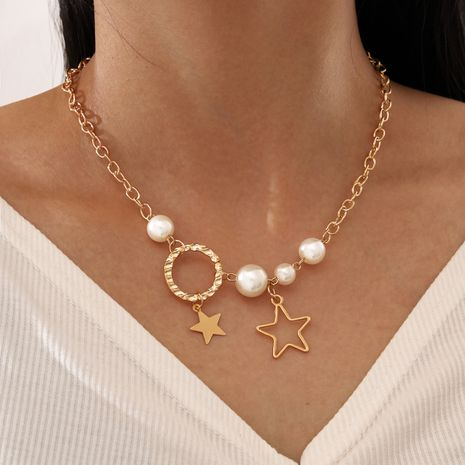 fashion single layer chain pearl circle star ladies charm necklace  NHPV249554's discount tags