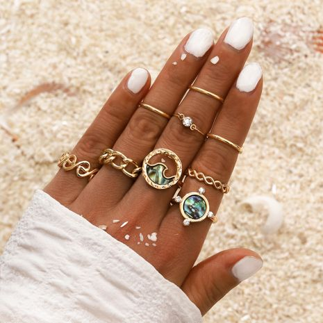 summer beach style hollow ocean wave point diamond ring fashion ring 9 piece set wholesale NHPV249559's discount tags