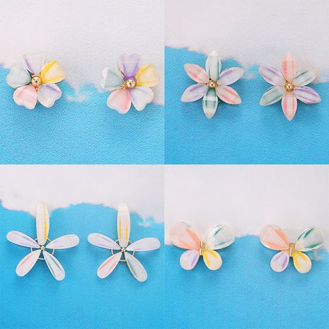 new butterfly element sweet girl flower earrings wholesale NHGY249564's discount tags