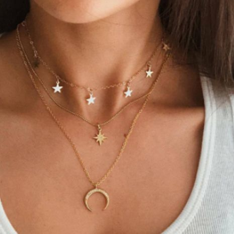 Fashion simple niche tide star moon multilayer five-pointed star clavicle chain necklace  NHGY249562's discount tags