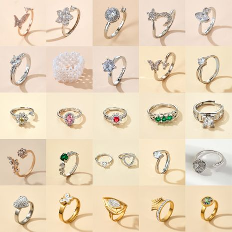 fashion opening adjustable diamond butterfly star love ring simple single ring wholesale NHGY249565's discount tags