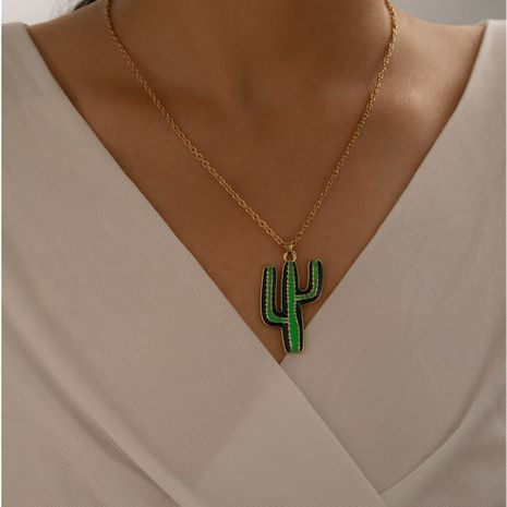 new alloy plant flower gold green cactus wild clavicle chain necklace NHGY249571's discount tags