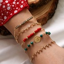 Bohemian style multicolored handmade beaded geometric tassel color rice bead alloy bracelet set NHGY249574