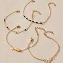 nouvel alliage noir diamant simple toile  cinq branches bracelet en alliage de perles noires ensemble de 4 pices NHGY249576