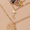 fashion simple allmatch star and moon colorful diamond multilayer pendant womens necklace NHGY249578