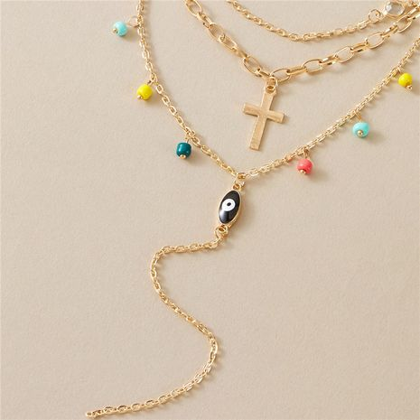 new  multi-layer cross eye simple color rice bead necklace for women's NHGY249579's discount tags