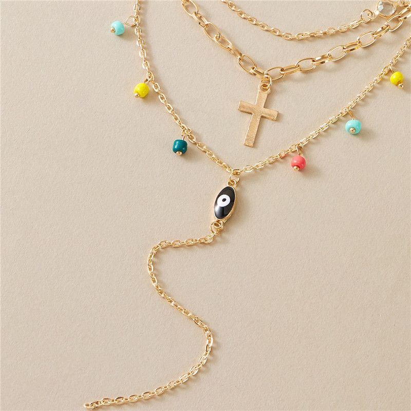 new  multilayer cross eye simple color rice bead necklace for womens NHGY249579