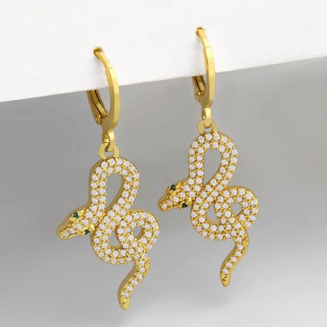 Fashion geometric simple snake diamond small snake copper earrings  NHAS249588's discount tags
