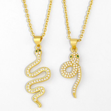 Fashion hip-hop style simple clavicle chain snake pendant necklace for women NHAS249592's discount tags