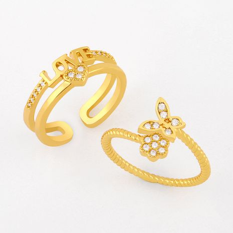 hot style zircon ring love ring butterfly flower ring wholesale  NHAS249596's discount tags