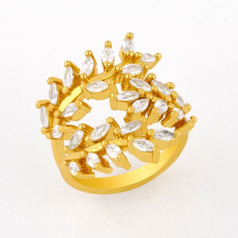 creative fashion simple inlaid zircon ring leaf branch ring wholesale NHAS249597's discount tags