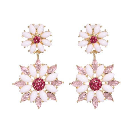 Exaggerated fashion pearl flower crystal flower alloy earrings for women NHJJ249599's discount tags