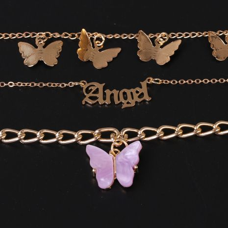 Fashion butterfly simple three-piece chain alloy butterfly anklet for women  NHJJ249604's discount tags