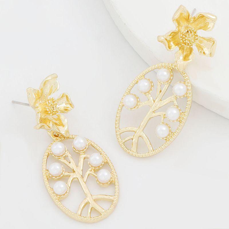 Boucles d39oreilles rtro de fleurs de perles incrustes de mtal cratif srie alliage simple en gros NHJE249608