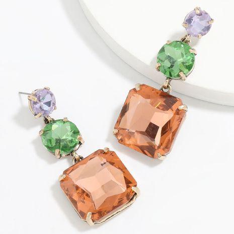 Boucles d'oreilles en verre carrées rondes en alliage multicouche de couleur à la mode en gros NHJE249607's discount tags