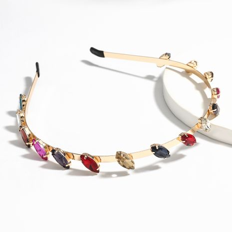 Fashion alloy diamond-studded glass color headband wholesale NHJE249609's discount tags