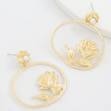 Simple alloy series creative metal texture round flower retro earrings wholesale NHJE249618's discount tags