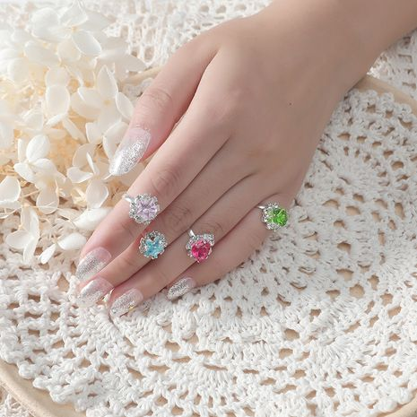 Imitation crystal gemstone cute cartoon set ring Korean fashion 12-piece  ring wholesale NHKQ249634's discount tags