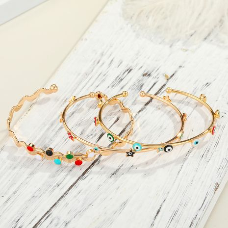 color eye new real gold plated diamond dripping open eye copper bracelet NHGO249674's discount tags
