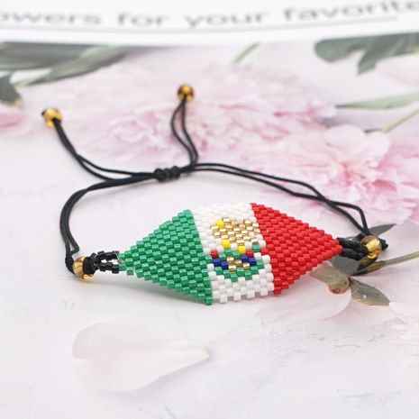 Fashion exotic ethnic style rice beads handmade mexico flag geometric beaded bracelet for women NHGW249688's discount tags