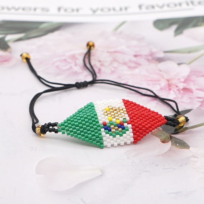 Fashion exotic ethnic style rice beads handmade mexico flag geometric beaded bracelet for women NHGW249688
