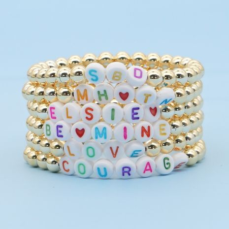 Fashiongold-plated color-preserving gold beads stacked beaded color letter bracelet NHGW249695's discount tags