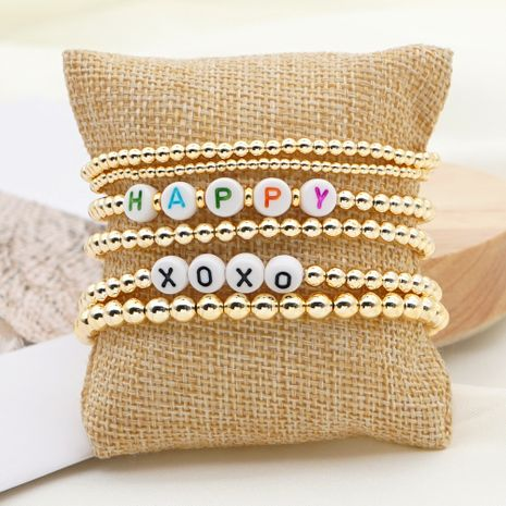 Bohemian weaving fashion trend multi-layered beaded color-preserving gold bead letter bracelet for women NHGW249696's discount tags